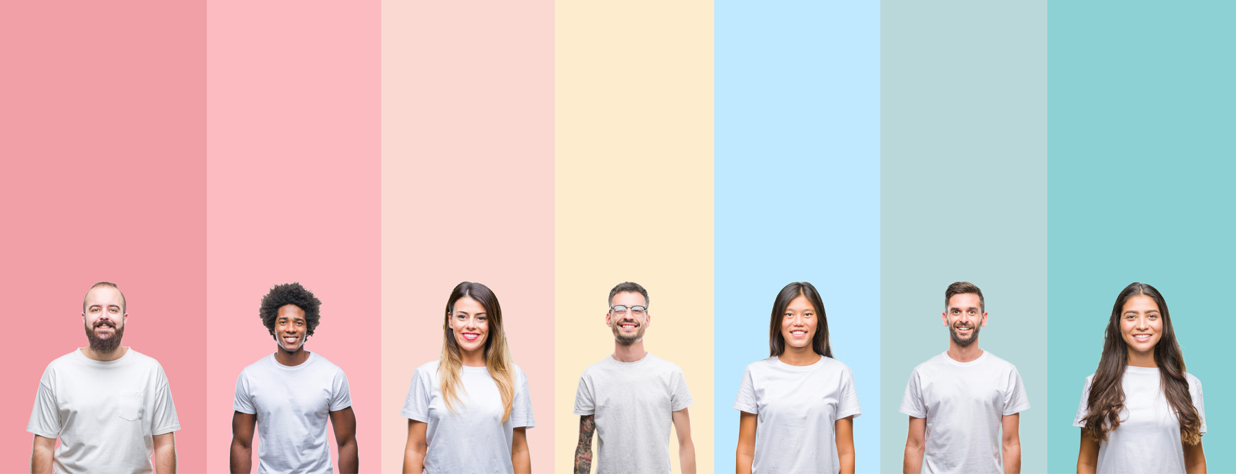 Happy People with rainbow background